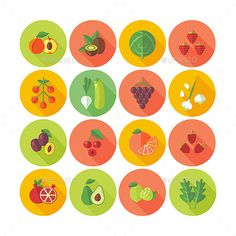 Fruits and Vegetables Icons Set by painterr Collection of fruits, vegetables and mushrooms icons. Circle colored flat icons with long shadows. and AI CS files included. Flat Design Icons, Icon Design, Flat Icons, Vegetable Stock Image, Restaurant Icon, Simple Icon, Game Design, Set Design, Long Shadow