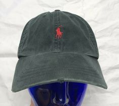 a95549410fce9 Polo Ralph Lauren Hat Vtg Leather Strapback Pony Light Black and Red   PoloRalphLauren