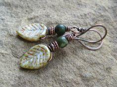 Green Czech Glass Leaf Earrings by valleybeadglassart on Etsy, $16.00