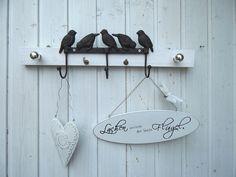 Hakenleiste Garderobe weiß Shabby, Vintage, Vögel von lamemo  auf DaWanda.com
