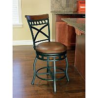 """Maddox 24"""" Barstool - Sam's ClubThis bar stool has handsome warmth that adds a contemporary touch to decor. The seat features a 360 degree swivel making the design perfect for a kitchen counter or bar seating areas. The back of the stool offers a tailored design with crossed metal work and vertical bars, adorned with a beautiful rolled wood top."""