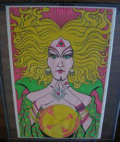 Vintage Black Light Poster Velvet Flocked 1970s Fortune Teller Crystal Ball Eye |