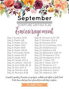 September Scripture Writing Plan: Encouragement - The Ruffled Mango Bible Study Plans, Bible Plan, Bible Study Tips, Bible Study Journal, Scripture Journal, Prayer Journals, Scripture Reading, Scripture Study, Daily Bible Reading Plan