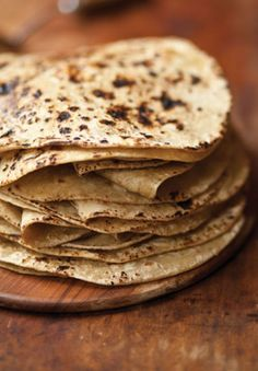 Thinner and chewier than paratha or naan, these earthy Indian flatbreads are made with whole durum wheat flour, called atta in Hindi.