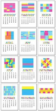 Printable 2012 calendar (from Lula Louise)