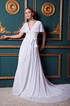Short Sleeves V-neckline A-line Full Length White Chiffon Summer Destination Wedding Dresses With Sash Popular Wedding Dresses, 2016 Wedding Dresses, Party Gowns, Party Dress, Silhouette, Evening Dresses, Prom Dresses, Formal Dresses, A Line Bridal Gowns