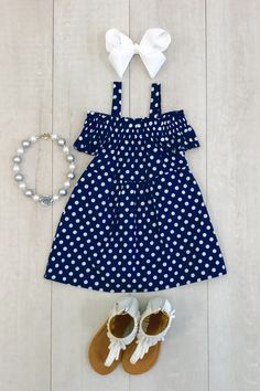 Black with White Polka Dot Off-Shoulder Dress Great in poka dots. Frocks For Girls, Kids Frocks, Little Girl Outfits, Cute Outfits For Kids, Little Girl Dresses, Toddler Outfits, Girls Dresses, Baby Girl Fashion, Kids Fashion