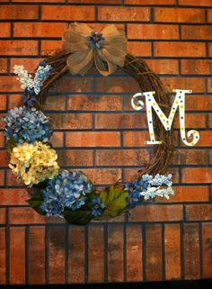 20 Spring Grapevine Wreath With Hydrangeas by ElsiesCreativeDesign, $55.50