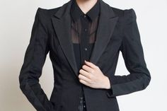 BLAZER - Black Rubber Jacket Textured Industrial Goth Geometric Women's Futuristic Strong Shoulder Lady Gaga Cyber Corp Sleek Noir - How to dress as a goth at work in a corporate workplace Source by stholtzmann - Corporate Goth, Corp Goth, Industrial Goth, Casual Goth, Casual Outfits, Goth Look, Goth Style, Professional Outfits, Gothic Fashion