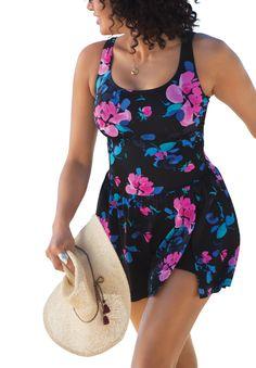 Slit swimdress by Swim 365® - Women's Plus Size Clothing #PlusSizeSwimwear