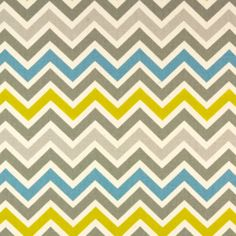 SALE - Blue, Citrine, and Grey Chevron Fabric - Premier Prints Zoom Zoom Summerland / Natural Fabric - Fabric by the yard Chevron Quilt, Chevron Fabric, Grey Chevron, Chevron Pillow, Turquoise Fabric, Premier Fabrics, Premier Prints, Rod Pocket Curtains, Custom Curtains