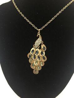 7ccc6fff1ddbdb Gold Tone #Peacock Pendant Necklace Navette Rhinestones on Feathers Vintage  #Pendant