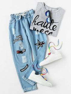 Denim pants fashion - Shop Ripped Cuffed Offset Printing Jeans online SheIn offers Ripped Cuffed Offset Printing Jeans & more to fit your fashionable needs Teenage Outfits, Teen Fashion Outfits, Mode Outfits, Jean Outfits, Outfits For Teens, Girl Outfits, School Outfits, Jeans Fashion, Tween Fashion