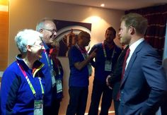 Prince Harry chats to some of the excellent #RWC2015 volunteers ahead of #FRAvCAN match in Milton Keynes