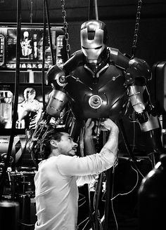 Tony Stark working on the Mark II