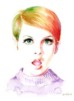 Aquarell Mode-Illustration - Twiggy