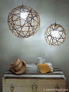 DIY:: Bamboo Orb Pendant Lights.    From CraftyNest.com/