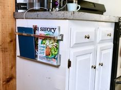 Do THIS to get extra kitchen storage - You can even do this if you're on a budget! This simple DIY is extremely budget-friendly and easy to install. You can use it for so many things too! Diy Kitchen, Kitchen Storage, Kitchen Design, Kitchen Items, Timber Shelves, Old Coffee Tables, Reclaimed Doors, Bee Boxes, Triangle Shelf