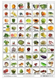 Vocabulario. Frutas y verduras.