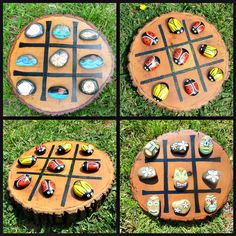 Tic-Tac-Toe Custom Hand Painted Rocks Hand painted and sealed set of 10 rocks 5 per side. Board is Rock Crafts, Diy And Crafts, Crafts For Kids, Rock Painting Ideas Easy, Rock Painting Designs, Tic Tac Toe, Painted Rocks Kids, Kids Wood, Backyard Games