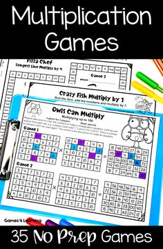 These No Prep games are fun, effective and they make mastering multiplication facts easy! Math Board Games, Math Games, Third Grade Math, Fourth Grade, Teaching Multiplication, Number Words, Middle School English, Math Numbers, Homeschool Math