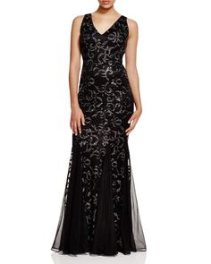David Meister Sequined Mermaid Gown