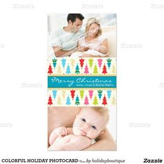 COLORFUL CHRISTMAS TREE HOLIDAY PHOTOCARD :: modern bright and bold patterned xmas tree 1P Photo Card template - setup as a template you can change the text and add your own photo - voila!  #christmascard #christmas2015 #holidaycard #zazzle #photocard #holidaytemplate
