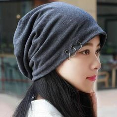 a1dbc0e3dba Warm cotton beanie hat with metal ring for men or women