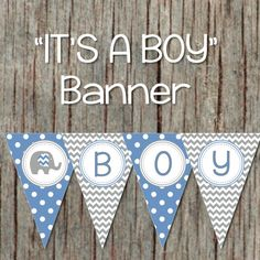 Its a Boy Baby Shower Decorations Pennant by BumpAndBeyondDesigns