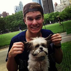 Ryan Steele with Corey Cott's puppy Theo... I'm a little obsessed with ryan, okay?