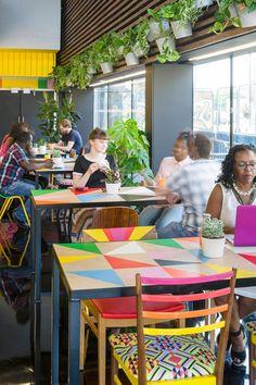 Morag Myerscough designs Colorful Cafe in Bernie Grants Arts Centre