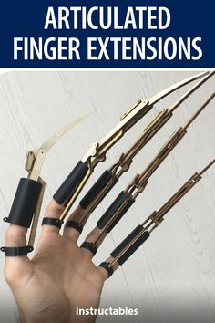 This articulated finger extensions are made from 3D printed and laser cut parts. #Instructables #costume #3Dprint #lasercut #prop Lazer Cutter, Scarecrow Costume, Costume Ideas, Costumes, Homemade Weapons, Martial Arts Training, Cnc Wood, Armor Concept, Organic Shapes