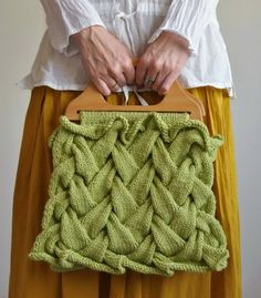 handknit designer handbag / purse in celery green -- idea spark