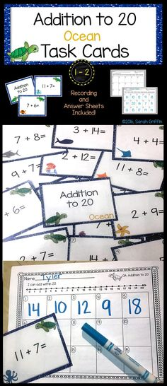 Addition to 20 | Task Cards | Math Center | Ocean Theme | assessment | early finisher activity | morning work | kindergarten | first grade | second grade