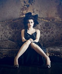 Black satin with Helena Bonham Carter