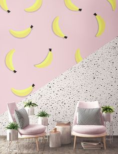 Our Bananarama Club Tropicana Wall Mural is a refreshing wall covering that brings modern Summer vibes into your home. This mural features a geometric diagonal split with two bright and bold dreamy designs – yellow bananas against a pastel pink block colour background for a trendy tropical palette, and a pale speckled terrazzo inspired texture.