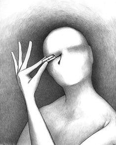 Simple but enormously creepy art. Mind-Bending Sketches A teraz otworzę sobie oczy i spojrzę na ten świat , czy jest taki zły?:
