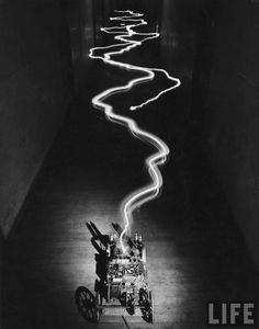 Alfred Eisenstaedt~ Electricity emitted from machine at MIT, Boston, MA. May,1949~LIFE Magazine~♛