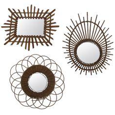 French Bamboo Sunburst Mirrors