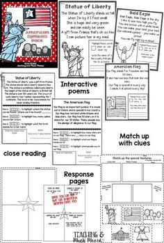 American symbols poems and crafts, writing, mini book and more Teaching and Much Moore National Symbols, American Symbols, Project Based Learning, Mini Books, First Grade, Social Studies, Poems, About Me Blog, The Unit