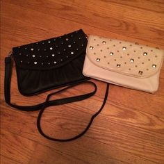 Two Grace Adele studded hand bags Two cute studded grace adele hand bags. One black shoulder bag and one beige clutch. Cute and simple, easy for formal or casual wear. Removable strap on black. Can be sold separate! Grace Adele Bags