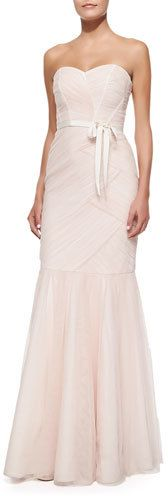 Monique Lhuillier Strapless Ruched Tulle Gown, Blush #bridesmaid #blush