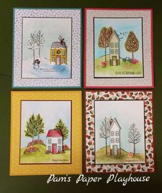 Home for Four Seasons by Pamela T Stoner, Set of four cards... one for each season. All watercolored with ink.