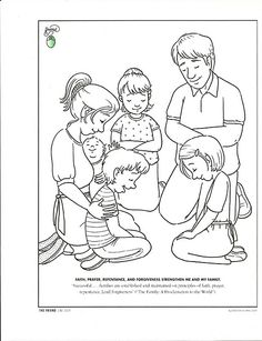 Fancy Lds Prayer Coloring Page 5 Family Praying Coloring Page