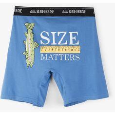 Size Matters Blue Men's Boxers daddys fishing buddy, how to make fishing, fishing themed parties Bamboo Fly Rod, Party Themes, Themed Parties, Size Matters, Fishing Gifts, Underwear, Lounge Wear, Men's Boxers, Fun