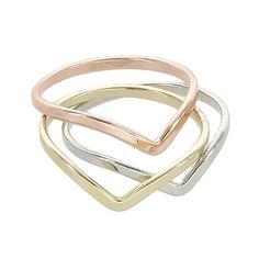 Three Tone Chevron Rings   Fahsye Fashion Accessories Boutique