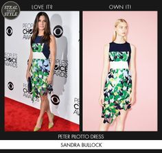 Sandra_Bullock in Peter Pilotto dress #sandrabullock #stealtheirstyle #peopleschoiceawards #redcarpet http://stealtheirstyle.com/