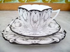 Vintage Shelley Queen Anne Trio Tea cup Saucer Plate Garland Of Flowers 11504   eBay.  Oh my.