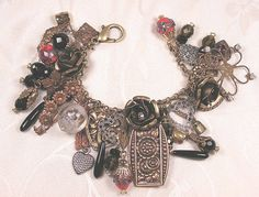 Lots of vintage in this charm bracelet by B'sue!