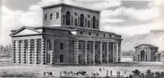 Vue perspective de la Maison du directeur - Saline royale (1774-1779) d'Arc-et-Senans - Ledoux